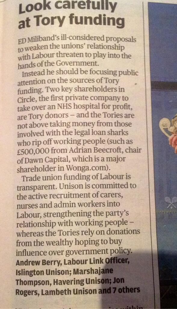 Ed Miliband should focus on Tory funding & leave Labour's union link alone