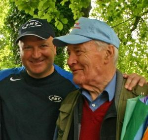 Bob Crow with Tony Benn; (c) RMT