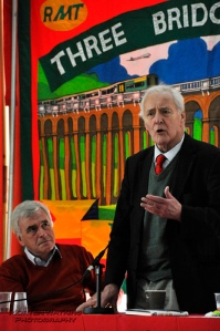 John McDonnell pays careful attention to Tony Benn at Brighton Fringe 2012; (c) Morten Watkins