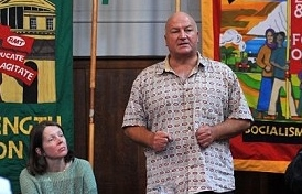 Sussex LRC Chair, Claire Wadey, listens to Bob Crow speaking in Brighton on Saturday 8 March 2014