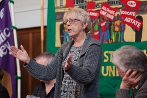 Liz French speaking at Brighton's 30th anniversary celebrations of the 1984/85 Miners' Strike (c) Morten Watkins