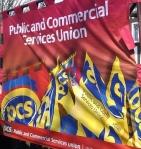 PCS banner at Bob Crow funeral_03.14 crop