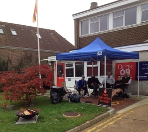 Firefighters picket outside Crowborough Fire Station, 1 November 2014