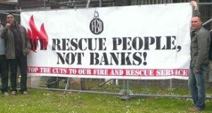 Hastings firefighters say Save Our Fire Service!