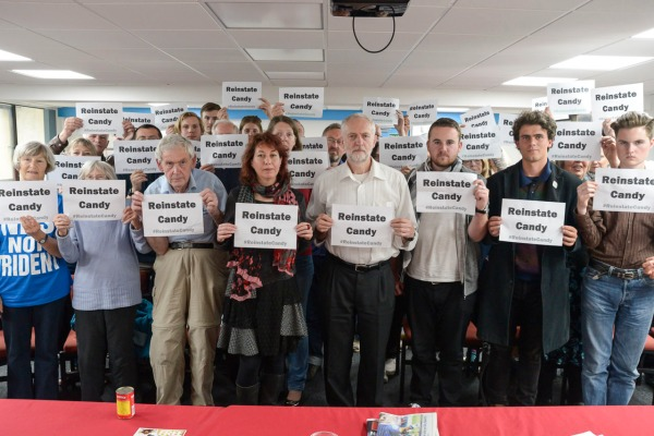 A message of solidarity and support for sacked PCS representative Candy Udwin from Jeremy Corbyn MP, Nancy Platts and everyone at Sussex LRC's meeting of 23 May 2015 (copyright Morten Watkins)
