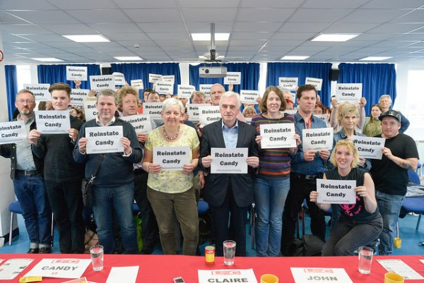 Solidarity for Candy Udwin and PCS members fighting privatisation at the National Gallery from everyone at Sussex LRC's Brighton Fringe meeting on 19 May 2015