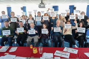 A message of solidarity and support from Michael Meacher MP, Focus E15 housing campaigners and everyone at Sussex LRC's meeting of 30 May 2015 for PCS representative Candy Udwin, who has been sacked from her job at the National Gallery since staff there began striking against privatisation of their jobs (copyright Morten Watkins)