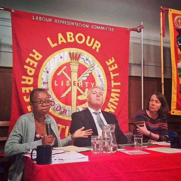Ian Lavery MP and Claire Wadey (Chair) listening to the serious message from Sarah Walker (ECP) at Resist Austerity - Defend Trade Union Rights