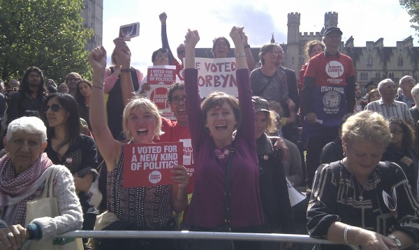 LRC members,  friends from the English Collective of Prostitutes and other Corbyn supporters celebrate the election of Jeremy Corbyn outside Labour's Special Conference on 12 September 2015
