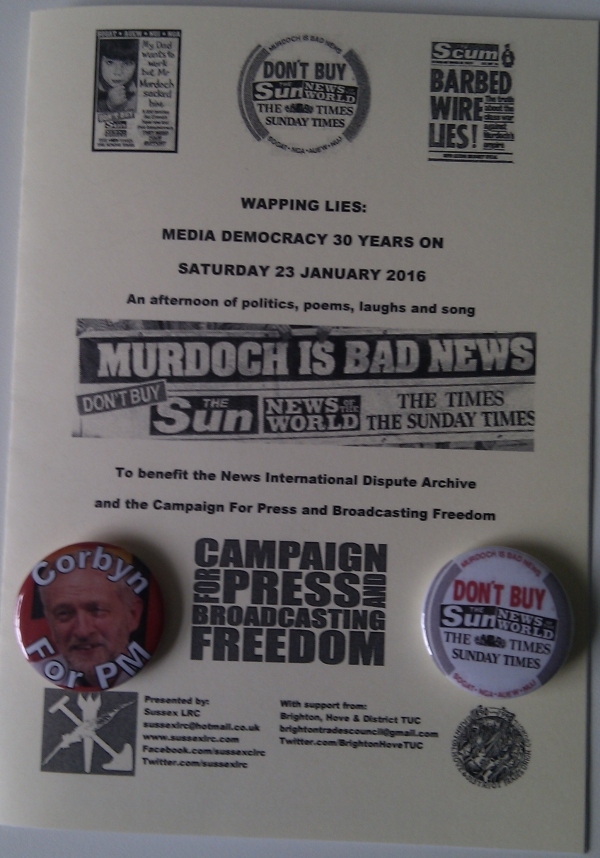 Donations are still being collected for NIDA and CPBF. Contact us if you would like to buy one of our Wapping Lies programmes or reproduction Don't Buy the Sun... badges, or any other Sussex LRC badge.